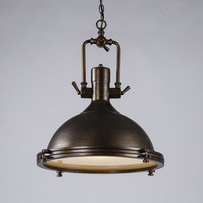 Ruanpu Industrial 17.72″ Nautical Style Single Pendant Light with Frosted Diffuser Mounted Fixture Chandelier in Brushed Bronze For Sale