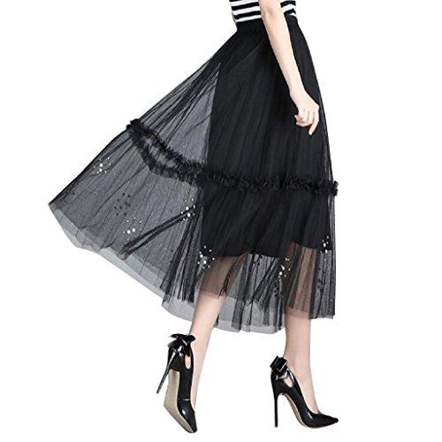 Adonis Pigou Women's Elastic Waist Mesh Tulle Overlay Beaded Midi Skirt Tutu Black