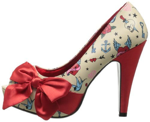 Tacón Satin Pinup De Cream Mujer red Pu Couture Zapatos Print tattoo CxZwx8gq