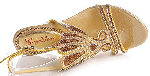 Gold Arrière Salabobo chunky Femme Bride qU887t