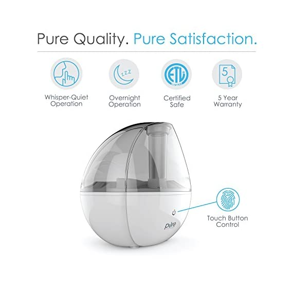 Pure Enrichment MistAire Silver Ultrasonic Cool Mist Humidifier - 1.5-Liter Water Tank, Whisper-Quiet Operation, Auto Safety Shut-Off and Night Light - Lasts Up to 25 Hours 3 ULTRASONIC COOL MIST TECHNOLOGY: Safely moisturizes the air for up to 25 hours of continuous operation so you can breathe easy and get more restful sleep. Ideal coverage for bedrooms, offices and other medium-sized rooms. IMPROVED FUNCTIONALITY: MistAire Silver includes the same premium components and functionality used throughout the MistAire line, but has been upgraded with sleep-friendly features like quieter beeps when the unit is turned on/off (great for sleeping babies) and a power light that automatically shuts off after 10 seconds (zero emitted light when the nightlight is off). 360-DEGREE MIST NOZZLE: Rotating nozzle makes it easy to adjust mist direction and high and low settings speed to fit your comfort level.