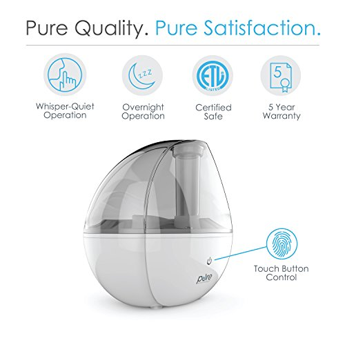 Large Product Image of Pure Enrichment MistAire Silver Ultrasonic Cool Mist Humidifier - 1.5-Liter Water Tank, Whisper-Quiet Operation, Auto Safety Shut-Off and Night Light Function - Lasts Up to 25 Hours