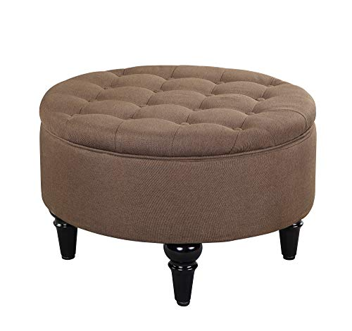 Ottoman Storage Tray Round (Kings Brand Furniture - Round Storage Ottoman with Tray Top, Brown)
