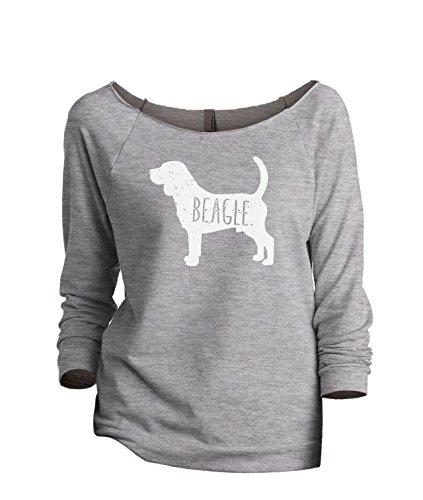 Thread Tank Beagle Dog Silhouette Women's Slouchy 3/4 Sleeves Raglan Sweatshirt Sport Grey X-Large