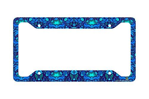 Airstrike Blue Tropical Flower License Plate Frame, Floral Pattern Car Tag Frame, License Plate Holder, Cute License Plate Frame-30-757 (License Flower Plates)