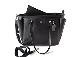 Coach F35414 Large Diaper Tote Travel Bag Coated Canvas Brown Black $495 (Black)