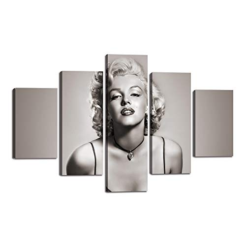 Extra Large Painting on Canvas Marilyn Monroe Wall Art Inspirational Famous People Series Artwork Black White Printed Picture for Living Room Home Decoration Framed Ready to Hang(60''Wx40''H)