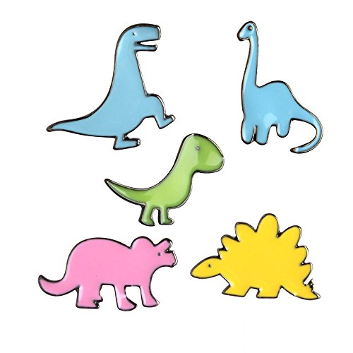 Summer Vacation Enamel Brooch Pin Set Cute Brooches Patches for Clothes/Bags/Backpacks/Jackets (Dinosaur Brooch Pin Set)