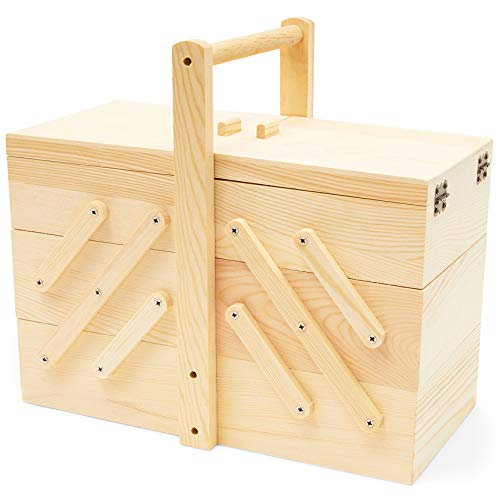 Juvale Wood Sewing Box 3 Tier Organizer