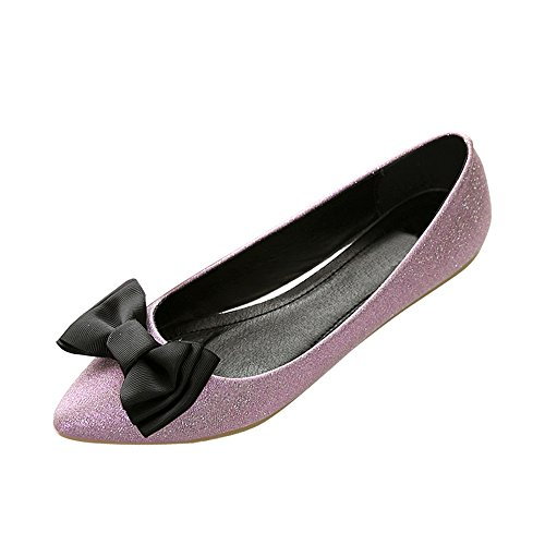 OCHENTA Femme Ballerines Plates Noeud Confortable Chaussures Marche Rose
