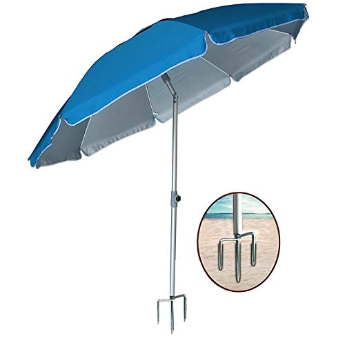 AMMSUN 2018 6.5 ft Outdoor Patio Beach Umbrella Sun Shelter with Tilt Air Vent Inclined, Heat Insulation, Antiultraviolet Function, for Patio, Garden, Fishing, Sports, Outdoor, Camping, Picnic/Blue ()
