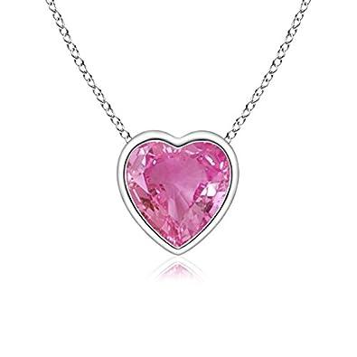 Angara Bezel-Set Solitaire Heart Pink Sapphire Pendant oWkSMKMbx