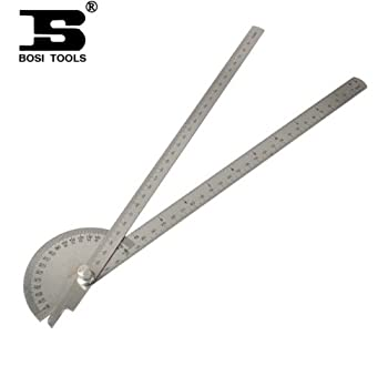 BOSI Polished 30HRC 0-180¡ãDegree Two-Arm 600mm Metric Steel Protractor