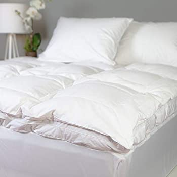 Image of Allied Essentials Luxe 100% Cotton White Down and Goose Featherbed Mattress Topper, King Home and Kitchen