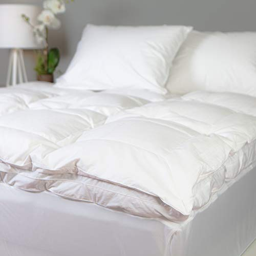 Allied Essentials Luxe 100% Cotton Goose Featherbed Mattress Topper, White, King ()