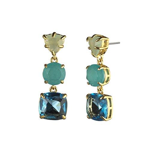 Carolee Drop Earrings - Carolee Malibu Waves Women's Malibu Waves-Pe-Three Stone Linear Drop Earrings, Blue/Green, One Size