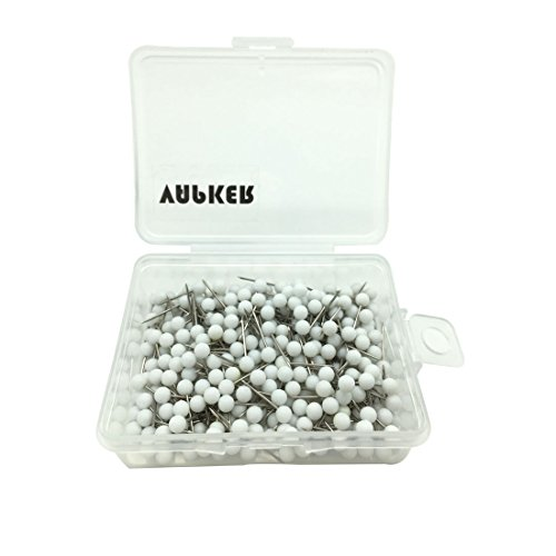 VAPKER 1/8 Inch Map Tacks Round Plastic Head Push pins with Stainless Point(Box of 300 White Color pins)