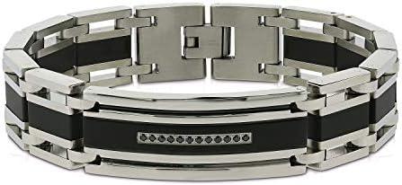 AX Jewelry Mens 1/6ct Black Treated Black Diamond ID Bracelet in Stainless Steel