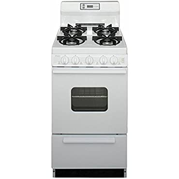 Premier SHK220OP ADA Compliant White 20 Sealed Gas Range with 2.4 Cu. Ft. Capacity Four Sealed 9 100 BTU Burners 8 Porcelain Backguard with Electronic Clock and Windowed Oven Door with Interior Oven Light