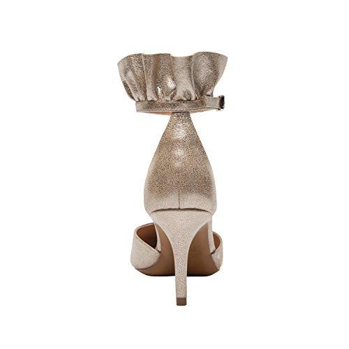 Linea Paolo Pammy - Kvinnors Ruggig Ankelbandet Mid Häl - Spetsiga Tå Pump Taro Guld Läder