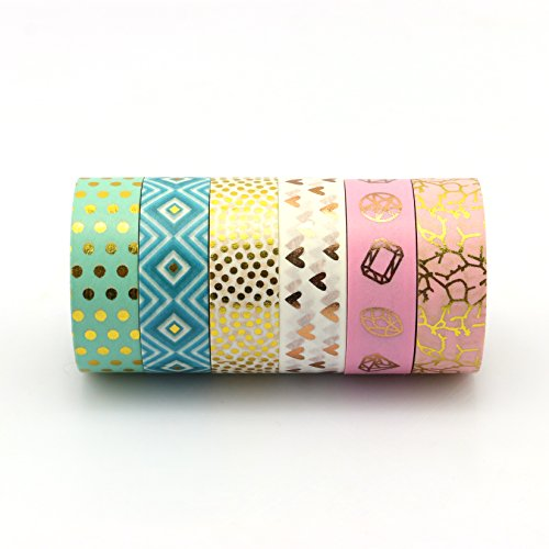Piokio 6Rolls Gold Foil Washi Tape Set Decorative Tape for Gift Wripping, Scrapbooking, Valentine's Day, Home, Party Decor