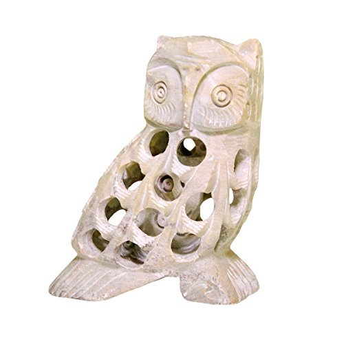 - StarZebra Handcarved SoapStone Owl Figurine Sculptured in Lattice Jaali Work From a Single Block of Stone