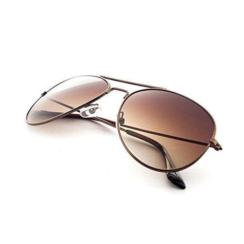 MLC EYEWEAR ® Brown Classic Fashion Aviator Sunglasses Tri-Layer UV400 - Sunglasses Aviator Vintage
