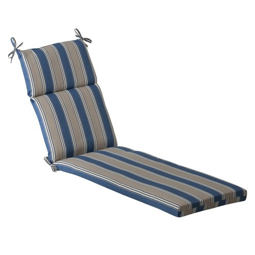 Pillow Perfect Outdoor Blue/Tan Striped Chaise Lounge Cushio