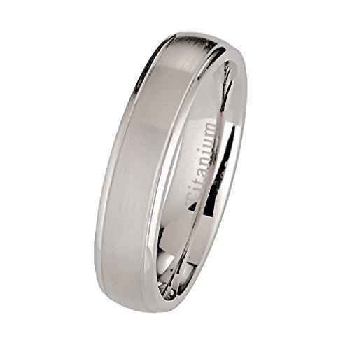 Band 5 Mm Brushed - 5mm Brushed Polished Titanium Wedding Band Comfort Fit Ring Size 10.5