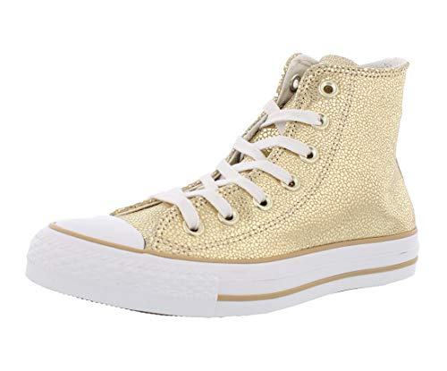 Converse Womens Chuck Taylor All Star Stingray Metallic Hi Top Gold/Black/White Sneaker - 8.5