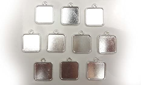 【HARU雑貨】シルバー ミール皿 10枚セット/四角 小 銀 s08/セッティング レジン アクセサリーパーツ