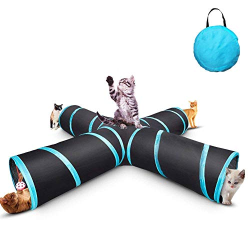 LLYU Cat Tunnel Toy, Foldable 4-Way pet Game Tunnel Tube Storage Bag and cat Toy, Large cat, Dog, Rabbit, Guinea Pig, Indoor/Outdoor use