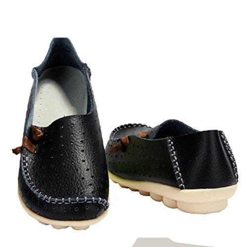 Mfairy Kvinnas Mode Våren / Sommaren Mocassin Skor Halka På Mjuka Tillfälliga Loafers Black2