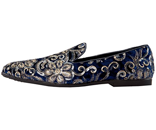 Slippers Sequin Velvet Slip Embroidered Amali Plush On Glitter Shoes Smoking And Navy Comfortable Men's 8T5Tqa