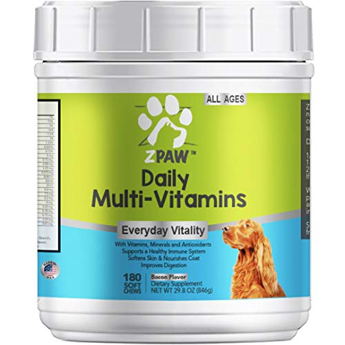 ZPAW Daily Multivitamins for Dogs of All Ages | Natural Dog Vitamins and Supplements for a Strong Immune System and Healthy Nervous System with Minerals and Antioxidants - 180 Chewable Treats