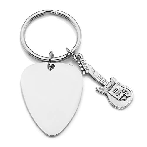 Funny Cute Guitar Pick Keychain Stainless Steel Electric Guitar Pendant Charms Customized Rock Music Guitarist Band Gift Free Engraving