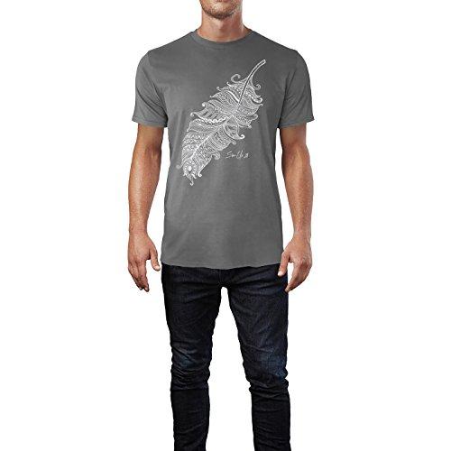 SINUS ART ® Feder mit verspielten Tattoos frontal Herren T-Shirts in Grau Charocoal Fun Shirt mit tollen Aufdruck