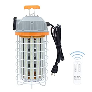 150W LED Temporary Work Light with Remote Control Indoor Outdoor Lamp High Lumen Waterproof Fixture 5,000K Daylight White Hanging Portable Light for Construction High Bay Workshop Jobsite Garage Shop