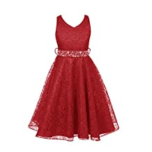 FREE FISHER Kids Girls Sleeveless Crystal Belted Lace Formal Gown Dress