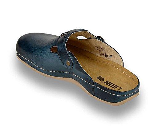 LEON 707 Komfortschuhe Lederschuhe Pantolette Clog Herren, Blau, EU 43