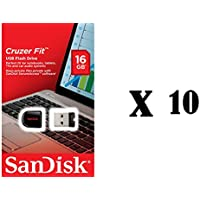 SanDisk Cruzer Fit 16GB USB 2.0 Flash Drive (10 pack) Jump Drive Pen Drive SDCZ33-016G Ten Pack