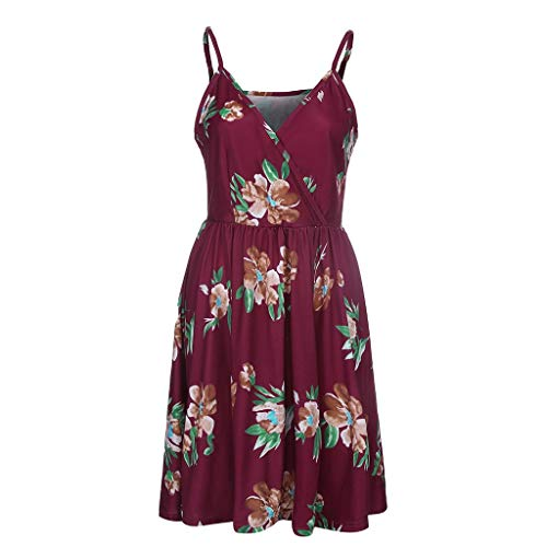 Women's V-Neck Floral Spaghetti Strap Summer Casual Swing Dress with Pocketsby Sharemen(Red,L) from Sharemen dress