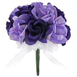 Purple and Lavender Silk Rose Toss Bouquet - Bridal Wedding Bouquet 61