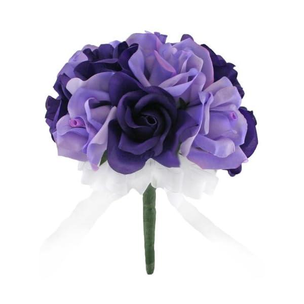 Purple and Lavender Silk Rose Toss Bouquet – Bridal Wedding Bouquet
