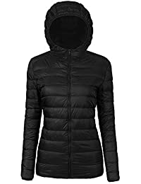 Women's Ultra-Lightweight Hooded and Stand Collar Packable Down Puffer Jacket Coat With Travel Bag