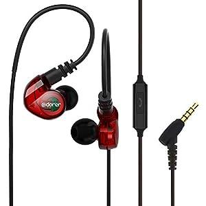Écouteur Sport Adorer RX6 Écouteurs Filaires Intra-auriculaires avec Microphone, Ecouteurs à réduction de bruit Étanches IPX4 pour iPhone Samsung Huawei Sony Xiaomi – Rouge