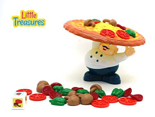 Little Treasures Incline Pizza Balancing Pile Up Game for Ages 3 and Up (Pizza Party Game)