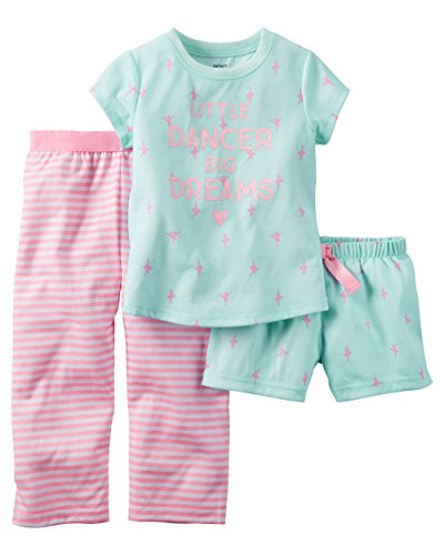 Carter's Little Girls' 3-Piece Jersey Pajama Set (3T, Mint/Pink)