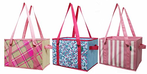 Earthwise Reusable Grocery Bag Shopping Box Deluxe Collapsible Pink Plaid Fashion Tote with Reinforced Bottom (Set of (Reusable Recyclable Tote Bag)