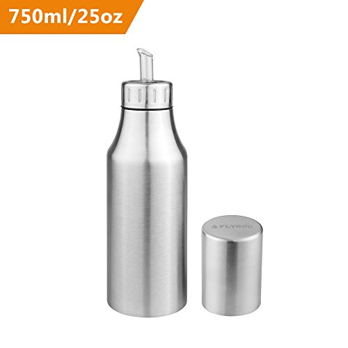 Oil Dispenser Controlled Cooking Stainless Steel Unbreakable Oil Vinegar Pot Oil Pourer Bottle Olive Oil Container Safey Exquisitely Leak Proof Oil Quantity Control Fits Perfect for BBQ 25oz (750ML) (Pourer Dispenser)